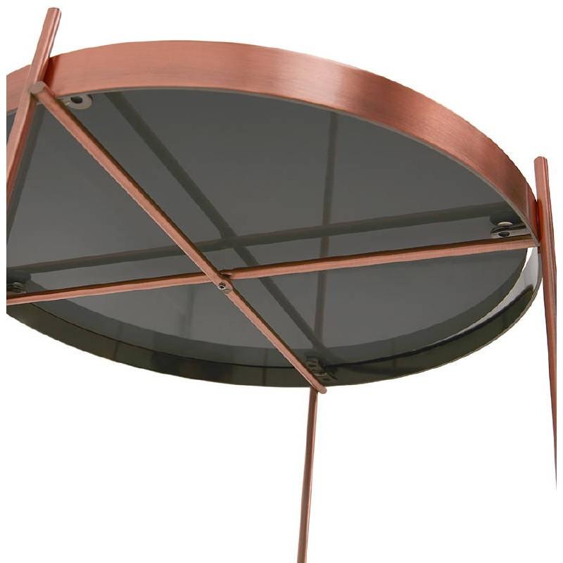 Table d'appoint pliable, bout de canapé ZOE en verre et métal (cuivre) - image 38700