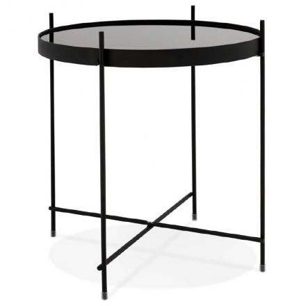 Folding side table, end table ZOE in glass and metal (black)