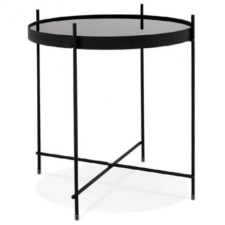 Klappbarer Beistelltisch, Beistelltisch ZOE in Glas und Metall (schwarz)