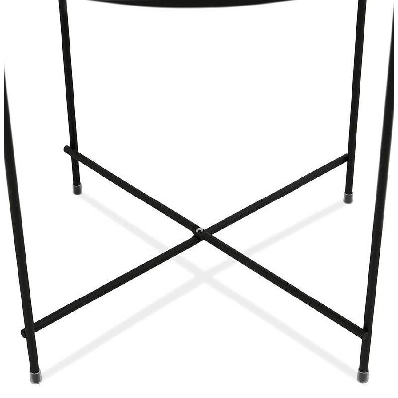 Table d'appoint pliable, bout de canapé ZOE en verre et métal (noir) - image 38710