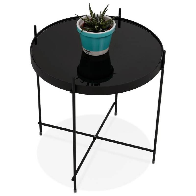 Table d'appoint pliable, bout de canapé ZOE en verre et métal (noir) - image 38712