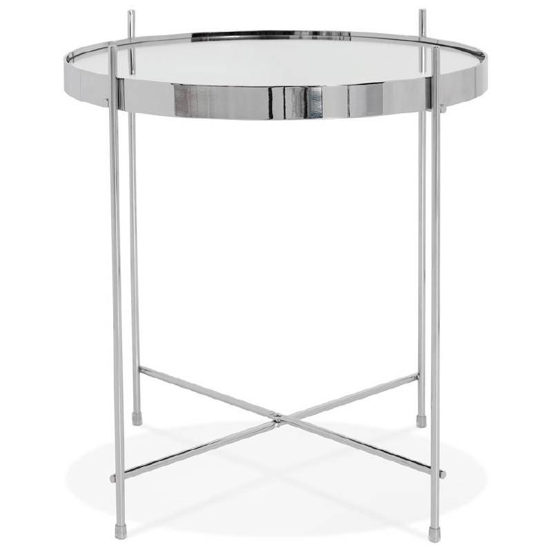 Table d'appoint pliable, bout de canapé ZOE en verre et métal (chrome) - image 38715