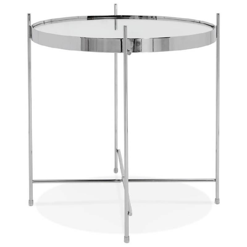 Table d'appoint pliable, bout de canapé ZOE en verre et métal (chrome) - image 38716