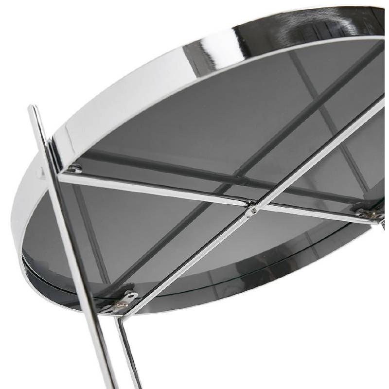 Table d'appoint pliable, bout de canapé ZOE en verre et métal (chrome) - image 38718