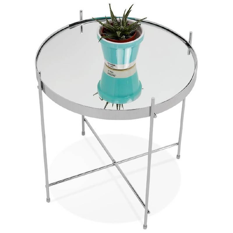 Table d'appoint pliable, bout de canapé ZOE en verre et métal (chrome) - image 38722