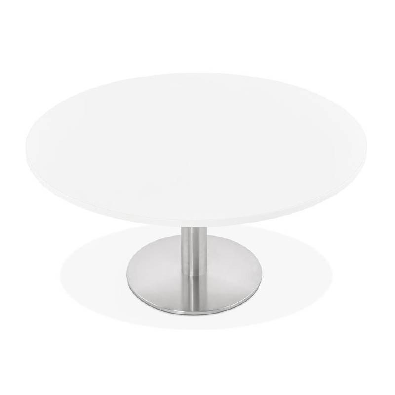 table basse design yael en bois et m tal bross blanc. Black Bedroom Furniture Sets. Home Design Ideas