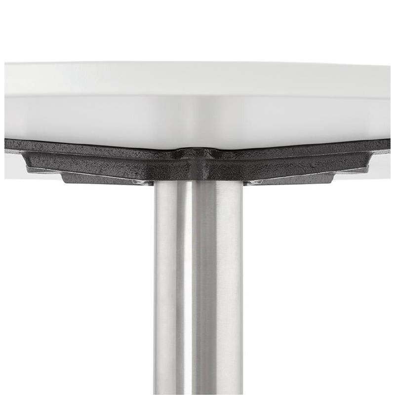 Tavolino design YAEL in metallo spazzolato e legno (bianco) - image 38770