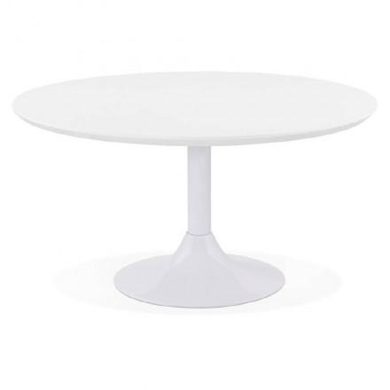 Table basse design VALENTINE en bois et métal peint (blanc)