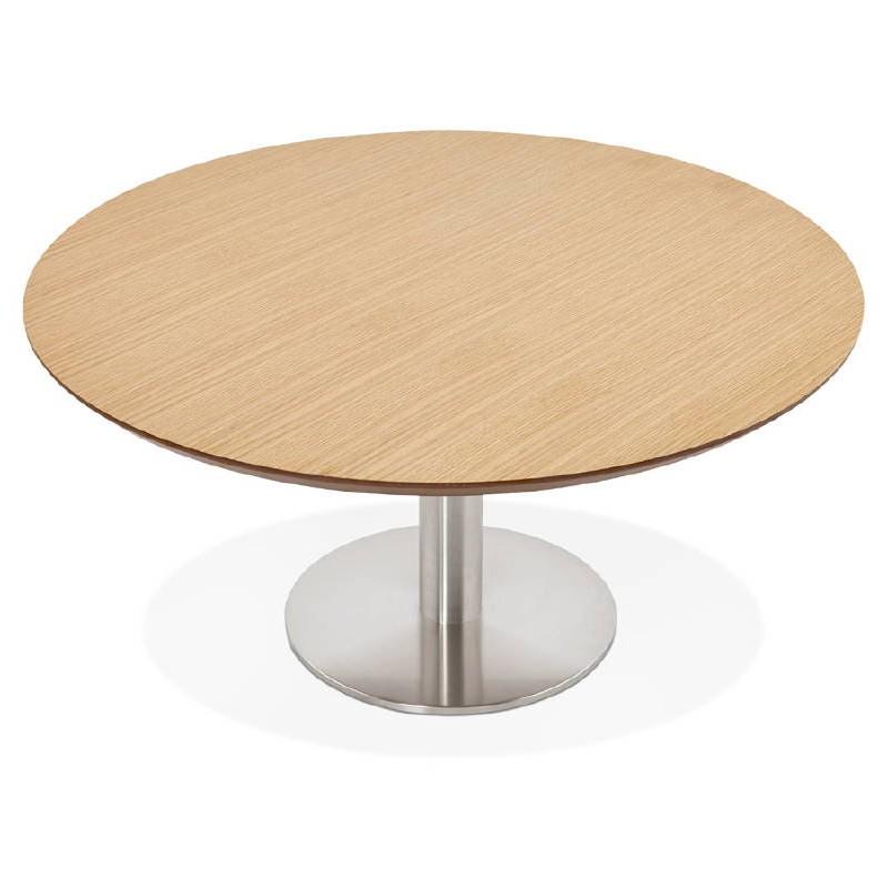 Table basse design WILLY en bois et métal brossé (chêne naturel) - image 38844