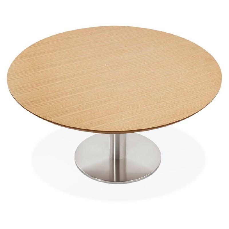 Table basse design WILLY en bois et métal brossé (chêne naturel) - image 38845