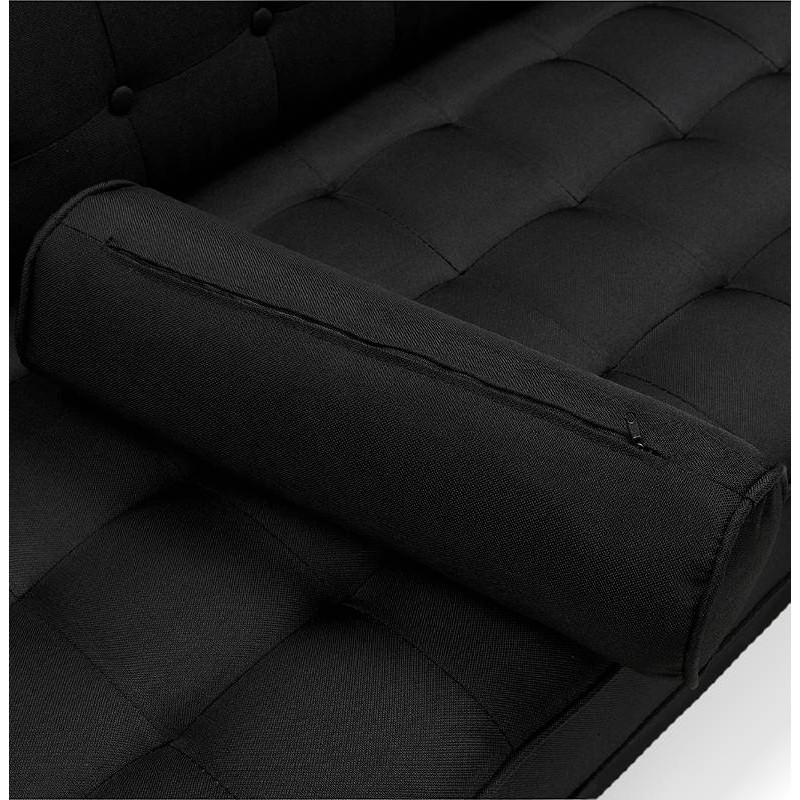 Canapé design et rétro capitonné 3 places SOPHIE en tissu (noir) - image 38876