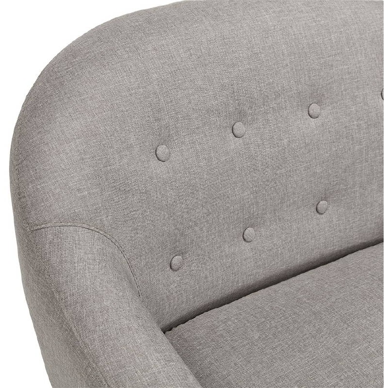 Fauteuil scandinave capitonné LUCIA en tissu (gris) - image 38896