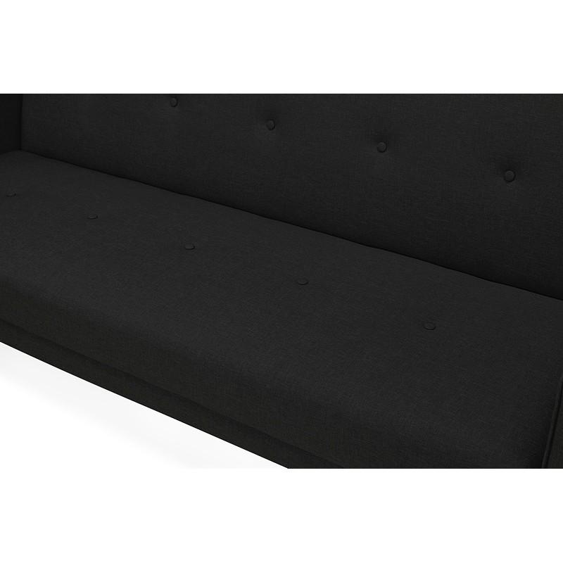 Canapé convertible design capitonné 3 places URSULA en tissu (noir) - image 38939