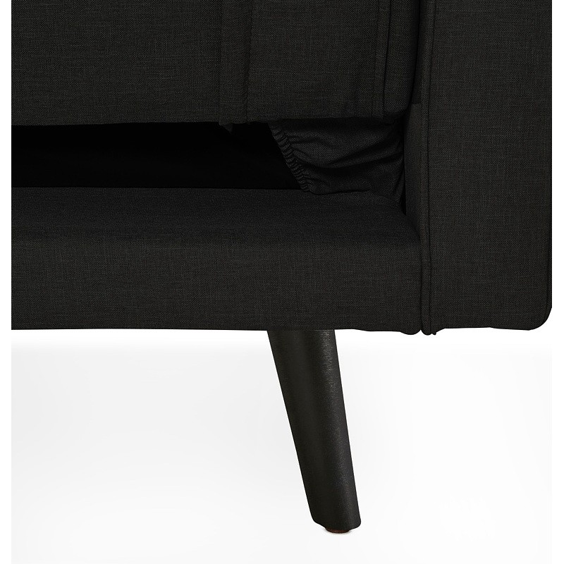 Canapé convertible design capitonné 3 places URSULA en tissu (noir) - image 38941
