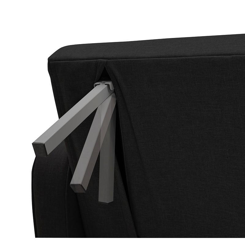 Canapé convertible design capitonné 3 places URSULA en tissu (noir) - image 38944