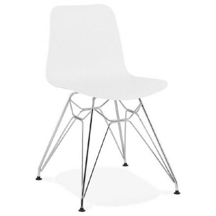 Progettazione e sedia industriale da piedini in polipropilene cromato in metallo (bianco)