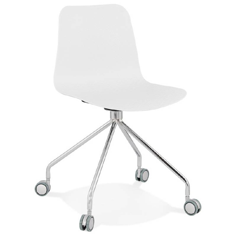 office chair on wheels janice polypropylene feet chrome metal white