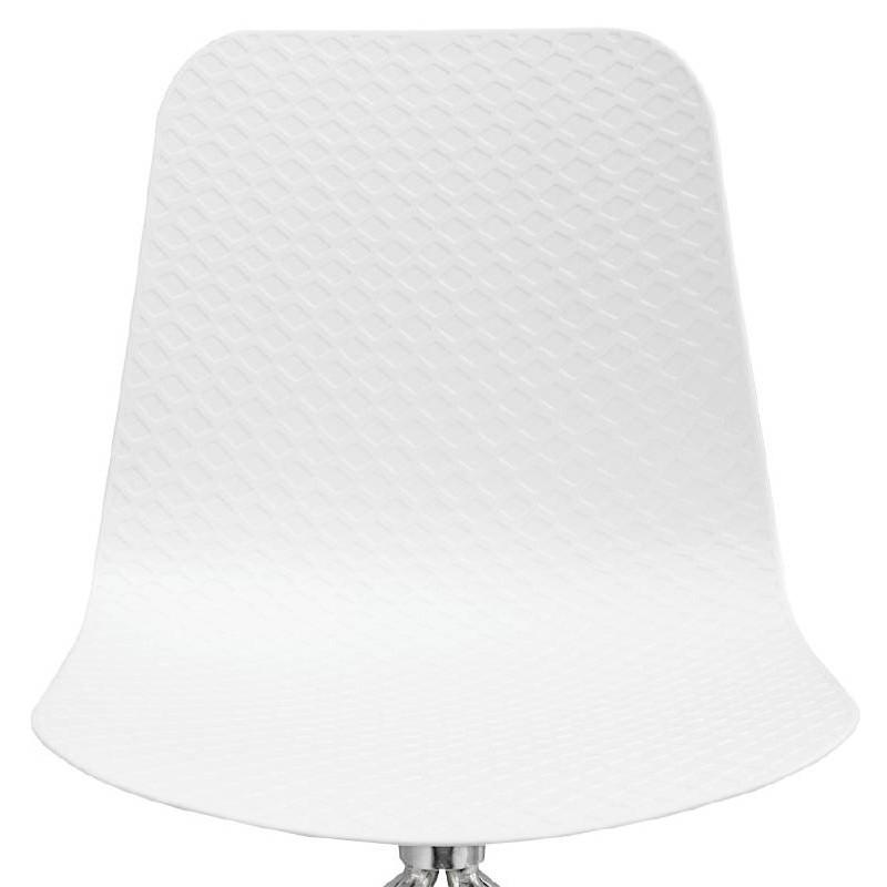 Chaise de bureau sur roulettes JANICE en polypropylène pieds métal chromé (blanc) - image 39053