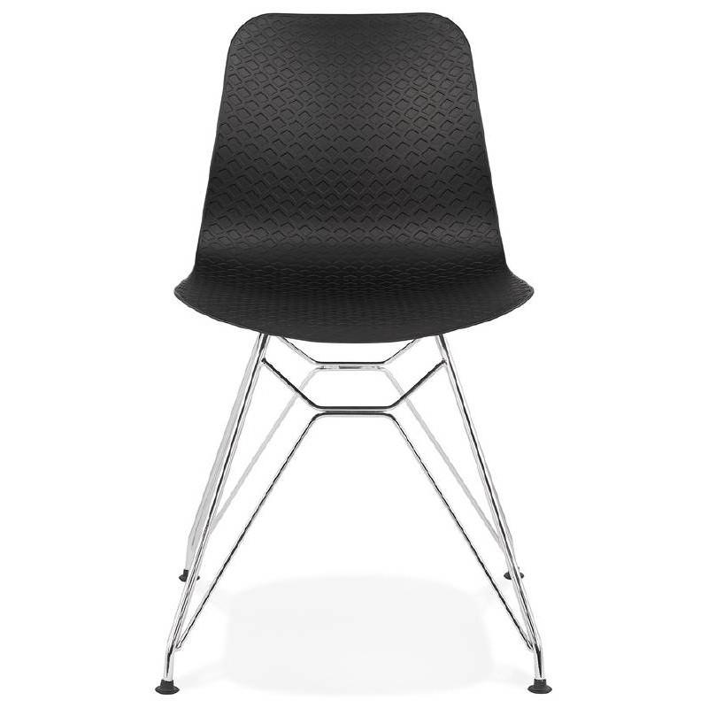 Chaise design et industrielle VENUS en polypropylène pieds métal chromé (noir) - image 39058