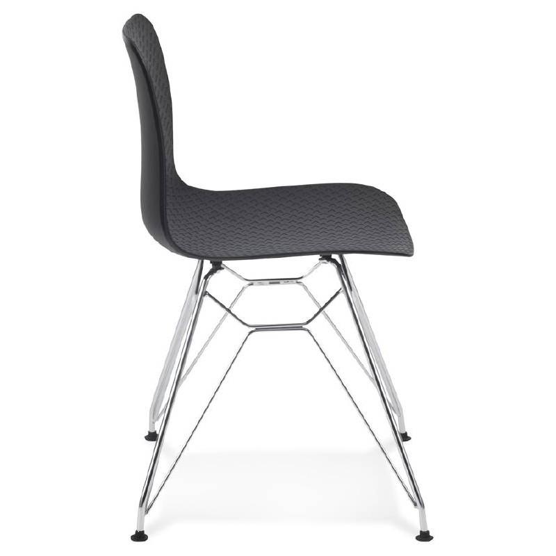 Chaise design et industrielle VENUS en polypropylène pieds métal chromé (noir) - image 39059