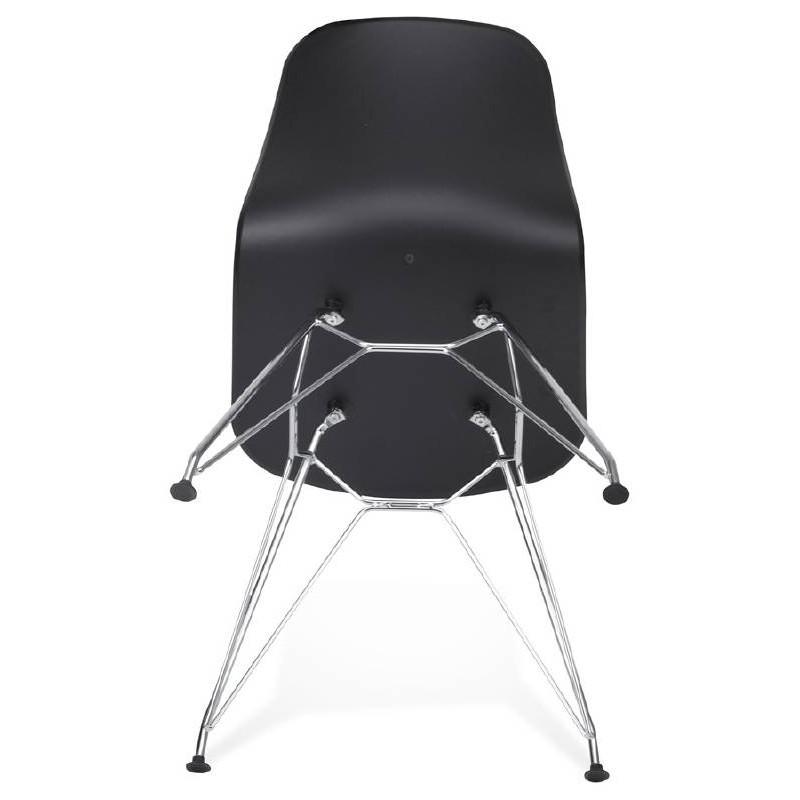 Chaise design et industrielle VENUS en polypropylène pieds métal chromé (noir) - image 39066