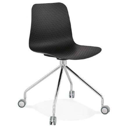 Office Chair on wheels JANICE polypropylene feet chrome metal (black)