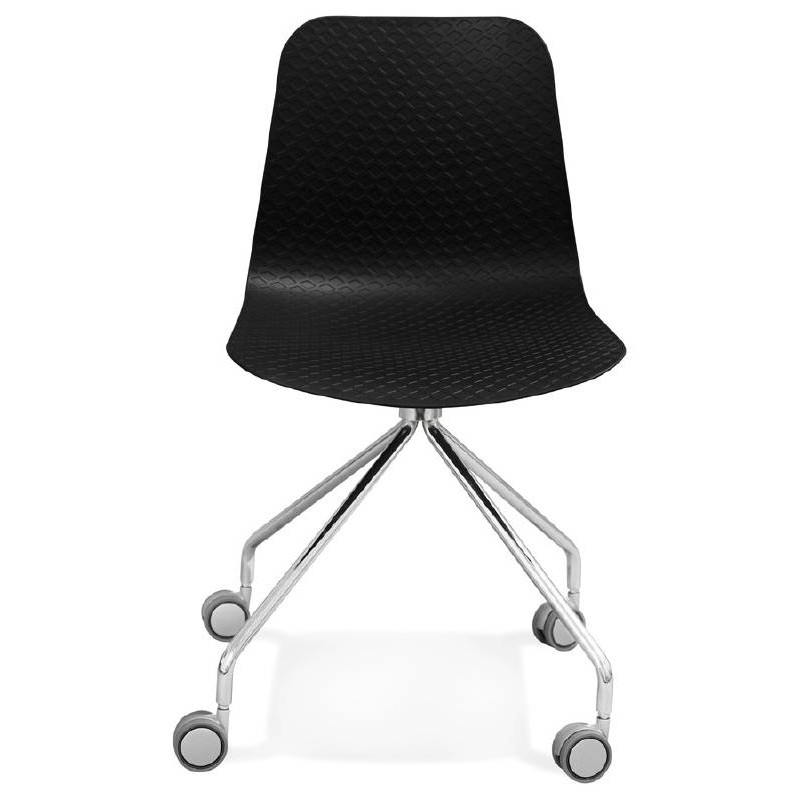 office chair on wheels janice polypropylene feet chrome metal black