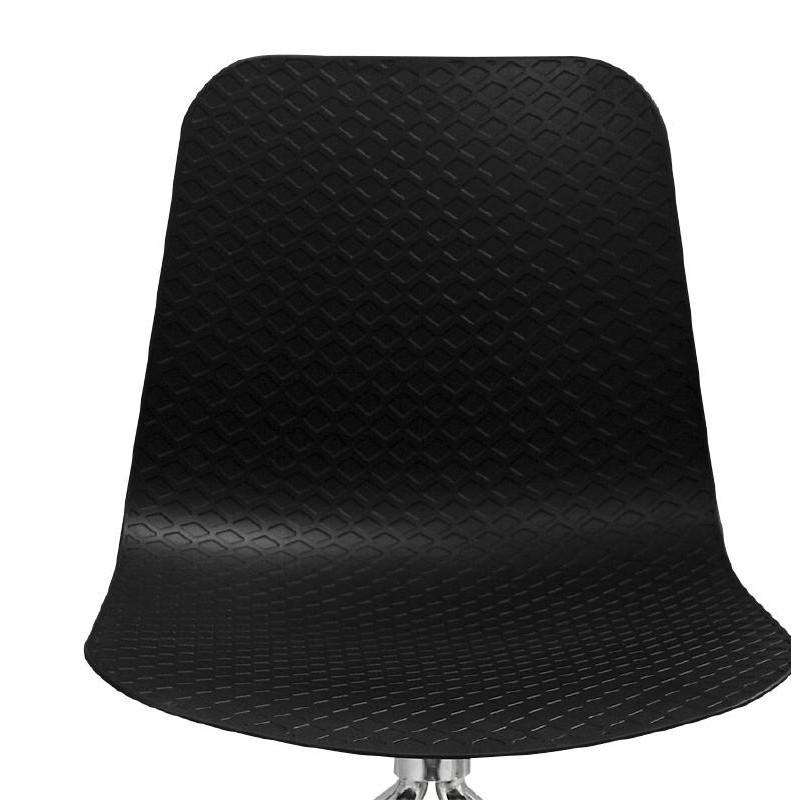 Chaise de bureau sur roulettes JANICE en polypropylène pieds métal chromé (noir) - image 39096