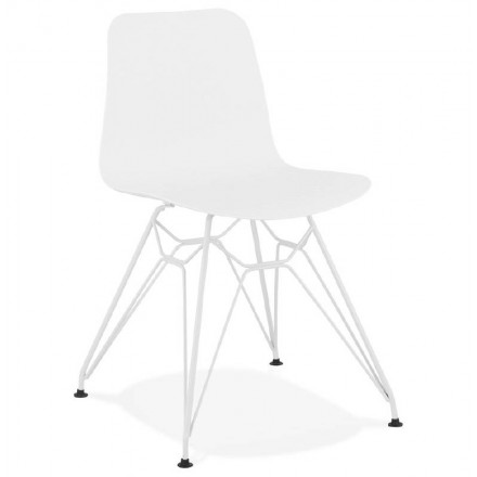 Design and modern Chair in polypropylene feet (white) white metal