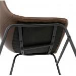 Chaise vintage et industrielle JOE pieds métal noir (marron)