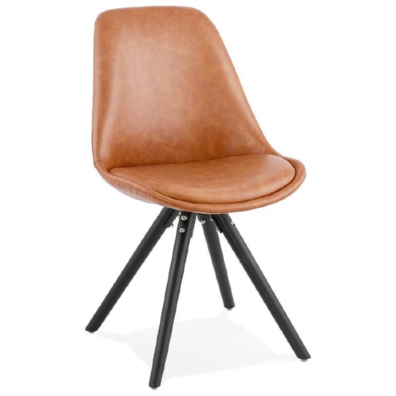 Sedia design e ASHLEY industriale nero piedi (marrone chiaro) - image 39158