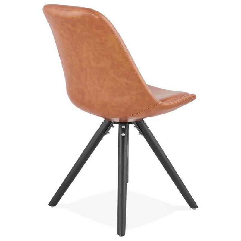 Sedia design e ASHLEY industriale nero piedi (marrone chiaro) - image 39161