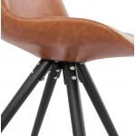 Sedia design e ASHLEY industriale nero piedi (marrone chiaro)