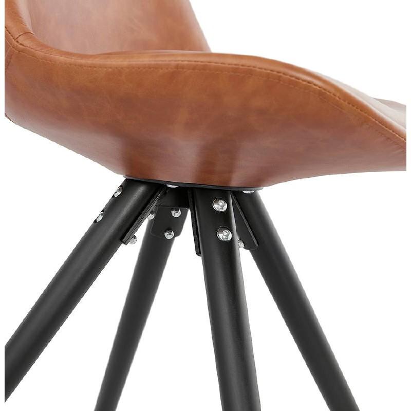 Sedia design e ASHLEY industriale nero piedi (marrone chiaro) - image 39168