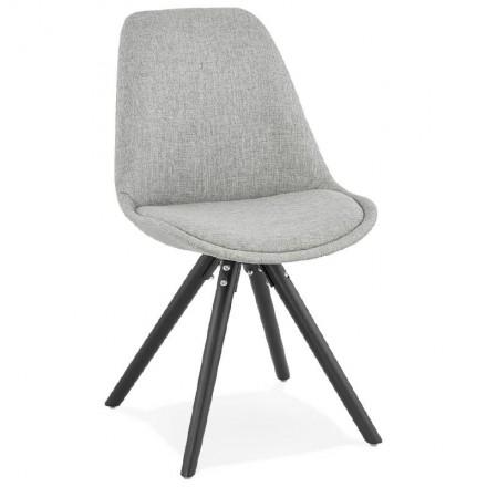 ASHLEY Design Sessel Stoff schwarz Füße (hellgrau)