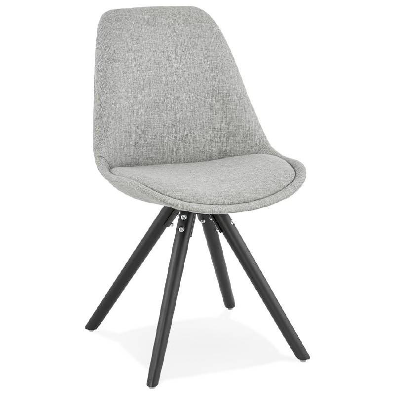 Chaise design ASHLEY en tissu pieds noirs (gris clair) - image 39184