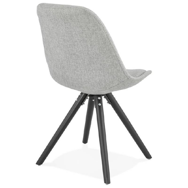 Chaise design ASHLEY en tissu pieds noirs (gris clair) - image 39187