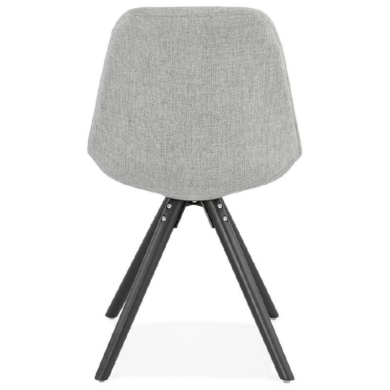 Chaise design ASHLEY en tissu pieds noirs (gris clair) - image 39188