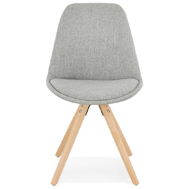 Sedia design scandinavo piedi colore naturale (grigio chiaro) del tessuto di ASHLEY - image 39198