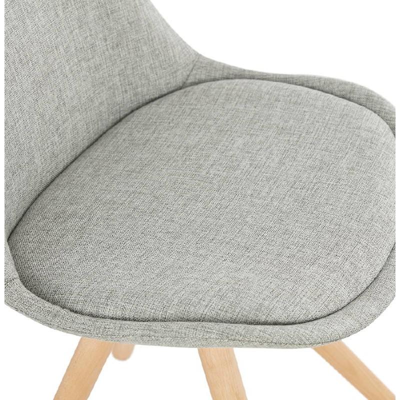 Sedia design scandinavo piedi colore naturale (grigio chiaro) del tessuto di ASHLEY - image 39202