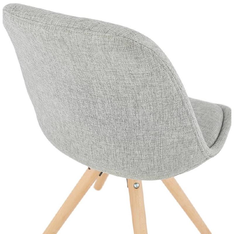 Sedia design scandinavo piedi colore naturale (grigio chiaro) del tessuto di ASHLEY - image 39206