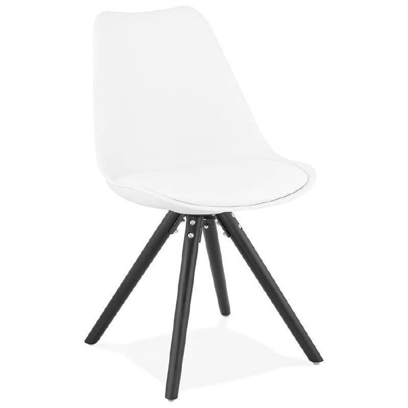 Chaise design ASHLEY pieds noirs (blanc) - image 39211