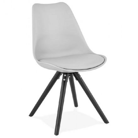 Chaise design ASHLEY pieds noirs (gris clair)