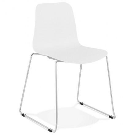 Chaise moderne empilable ALIX pieds métal chromé (blanc)