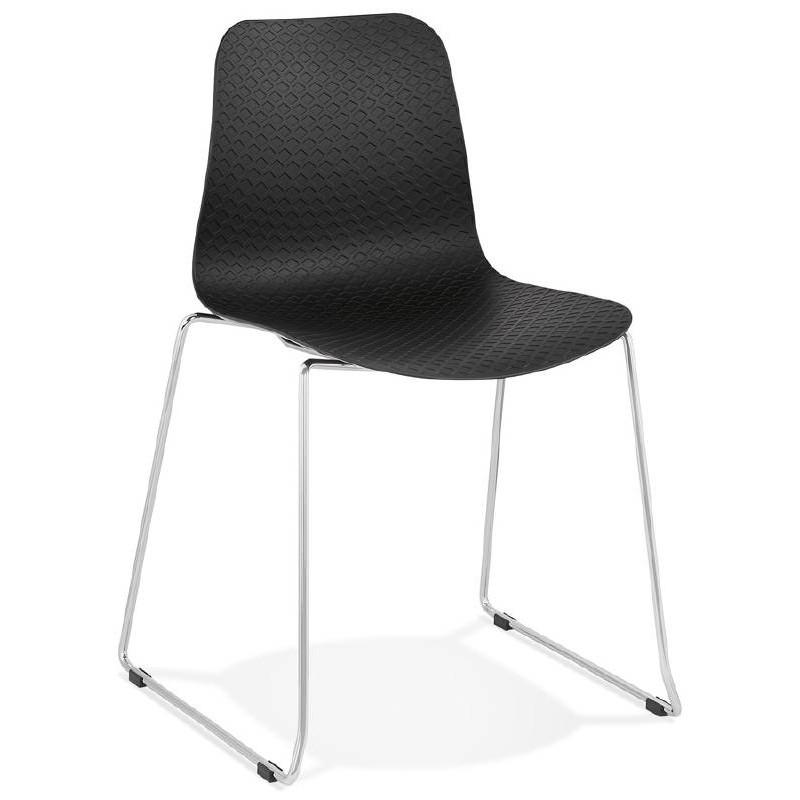 Moderner Stuhl ALIX Fuß verchromt Metall (schwarz)