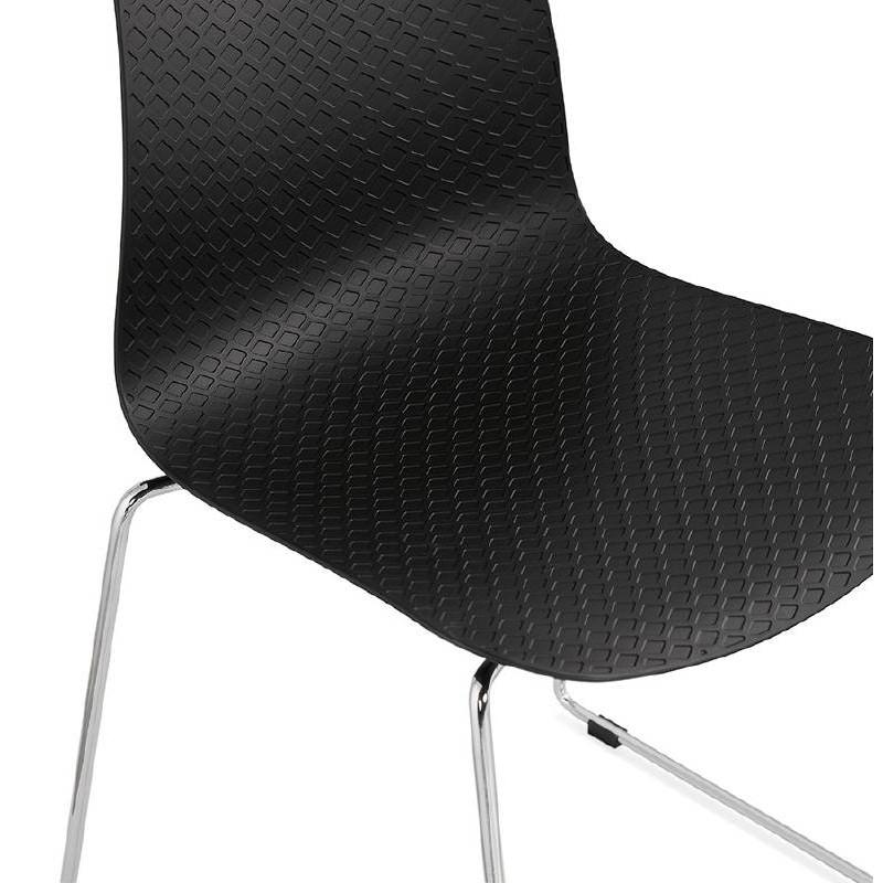 Moderner Stuhl ALIX Fuß verchromt Metall (schwarz) - image 39264