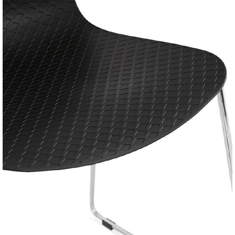 Moderner Stuhl ALIX Fuß verchromt Metall (schwarz) - image 39265
