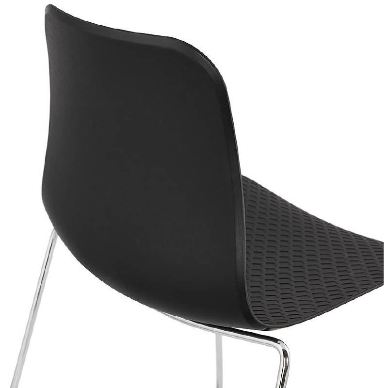 Moderner Stuhl ALIX Fuß verchromt Metall (schwarz) - image 39267