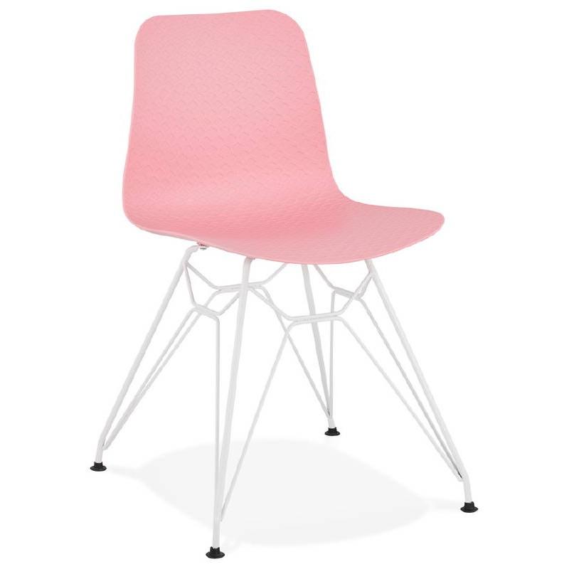 Design and modern Chair in polypropylene feet white metal (Pink) - image 39270