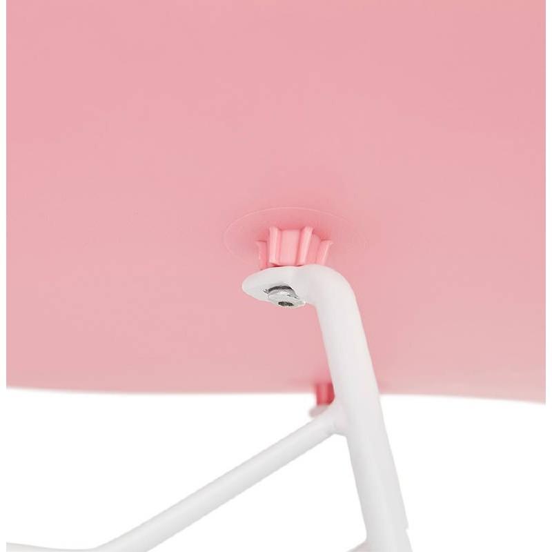 Design and modern Chair in polypropylene feet white metal (Pink) - image 39278